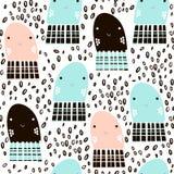 Modelo inconsútil con los pescados de jalea del animal de mar, pescados Textura infantil submarina para la tela, materia textil F ilustración del vector