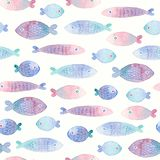 Modelo inconsútil con los pescados pintados a mano Fondo colorido de la acuarela para la tela, papeles pintados, papel de envolto libre illustration