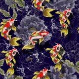 Modelo inconsútil con los pescados y las peonías Ejemplo de Colorfull del mundo subacuático para imprimir en tela Fotos de archivo libres de regalías