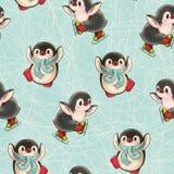 Modelo inconsútil con los pingüinos lindos foto de archivo libre de regalías