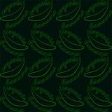 Modelo inconsútil con los plátanos y el plátano orgánico del texto Contorno que pone en contraste brillante en fondo oscuro stock de ilustración