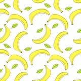 Modelo inconsútil con los plátanos y las hojas pelados stock de ilustración
