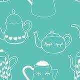 Modelo inconsútil con los potes del té y del café Bebidas del invierno El arte se puede utilizar para un menú, una cafetería y un stock de ilustración