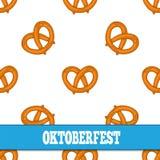 Modelo inconsútil con los pretzeles para Oktoberfest en el fondo blanco Imagen de archivo libre de regalías