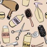Modelo inconsútil con los productos de la peluquería Fotos de archivo libres de regalías