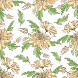 Modelo inconsútil con los ramos de crisantemos Textura sin fin para el diseño sus tarjetas de felicitación, diseño de la tela, bo libre illustration