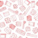 Modelo inconsútil con los rectángulos de regalo Dibujo de la mano fijado con los regalos Regalos por diversos días de fiesta En e Stock de ilustración