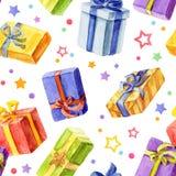 Modelo inconsútil con los regalos de la Navidad y del Año Nuevo watercolor stock de ilustración
