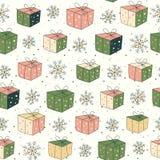 Modelo inconsútil con los regalos y la nieve stock de ilustración