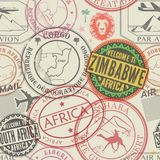 Modelo inconsútil con los sellos de goma de la visa en pasaporte stock de ilustración