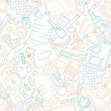 Modelo inconsútil con los tipos del diffrenet de basura del hogar ilustración del vector