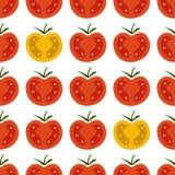 Modelo inconsútil con los tomates de cereza rojos y amarillos frescos en wh Imágenes de archivo libres de regalías