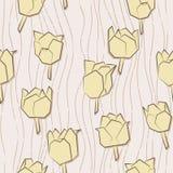 Modelo inconsútil con los tulipanes de papel Fotos de archivo libres de regalías