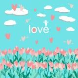 Modelo inconsútil con los tulipanes del ramo con las nubes y los corazones ilustración del vector