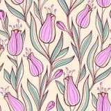 Modelo inconsútil con los tulipanes rosados stock de ilustración