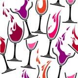 Modelo inconsútil con los vidrios de vino Imagen de archivo