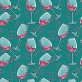 Modelo inconsútil con los vidrios de vino Foto de archivo