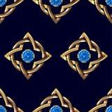 Modelo inconsútil con oro y piedras preciosas Modelo de la joyería Pendientes con las piedras preciosas y el metal azules del oro libre illustration