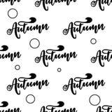 Modelo inconsútil con otoño de las letras Tipografía del vector, letras de la mano Imagen de archivo libre de regalías