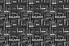 Modelo inconsútil con palabras: amor, paz, balanza, felicidad, fe, dios, creencia, cuidado, calidad, tranquilidad, armonía Vector Foto de archivo libre de regalías
