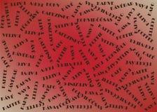Modelo inconsútil con palabras de la tipografía en otros idiomas y fondo rojo Fotografía de archivo