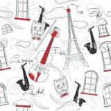 Modelo inconsútil con París, música y saxophone-03 Fotografía de archivo libre de regalías
