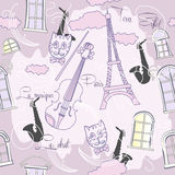 Modelo inconsútil con París, música y saxophone-04 Imagen de archivo