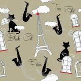 Modelo inconsútil con París, música y saxophone-05 Foto de archivo