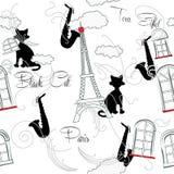 Modelo inconsútil con París, música y saxophone-08 Fotografía de archivo