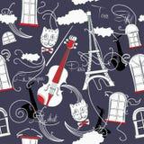 Modelo inconsútil con París, música y saxophone-02 Fotografía de archivo