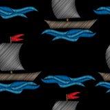 Modelo inconsútil con poco barco con el stit azul del bordado de la onda stock de ilustración