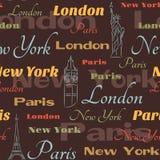 Modelo inconsútil con símbolos de ciudades Foto de archivo libre de regalías