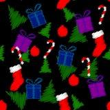 Modelo inconsútil con símbolos de la Navidad Imágenes de archivo libres de regalías