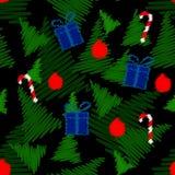 Modelo inconsútil con símbolos de la Navidad Imagen de archivo libre de regalías