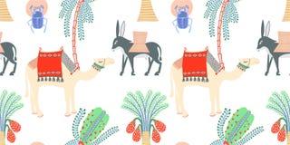 Modelo inconsútil con símbolos egipcios - camello, burro stock de ilustración