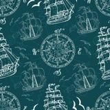 Modelo inconsútil con símbolos y naves del mar Imagen de archivo