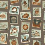 Modelo inconsútil con tema del café de los sellos Imagen de archivo libre de regalías