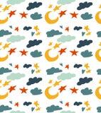 Modelo inconsútil con tema del cielo Modelo hermoso de la historieta con la luna, las nubes y las estrellas imágenes de archivo libres de regalías