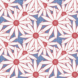 Modelo inconsútil con textura roja del ornamento de los círculos de las flores en fondo azul claro Foto de archivo libre de regalías