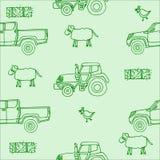 Modelo inconsútil con una oveja y un pollo y una bala de heno y un tractor y una recogida en verde Imagen de archivo