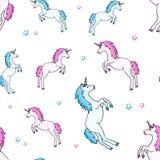 Modelo inconsútil con unicornio azul, rosado y las estrellas Ilustraci?n del vector ilustración del vector