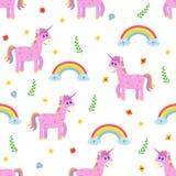 Modelo inconsútil con unicornio rosado lindo y el arco iris Ji de la moda Fotos de archivo libres de regalías