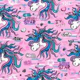 Modelo inconsútil con unicornios en un fondo rosado Ejemplo de los niños para las impresiones, la ropa, las materias textiles, la ilustración del vector