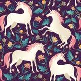 Modelo inconsútil con unicornios hermosos Fondo mágico del vector para el diseño de los niños stock de ilustración
