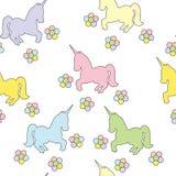 Modelo inconsútil con unicornios Imagen del color del vector Dibujo del ` s de los niños Imagen de archivo libre de regalías