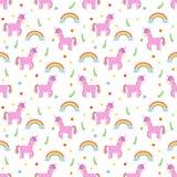 Modelo inconsútil con unicornios rosados lindos y arco iris Moda c Fotografía de archivo