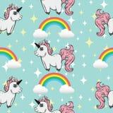 Modelo inconsútil con unicornios Unicornios y arco iris libre illustration