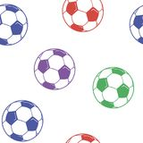 Modelo inconsútil con vector de los balones de fútbol stock de ilustración