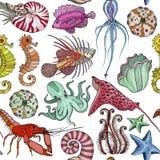 Modelo inconsútil con vida marina dibujada mano stock de ilustración