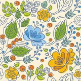 Modelo inconsútil, contorno, amarillo, flores azules, hojas verdes, fondo ligero Fotografía de archivo
